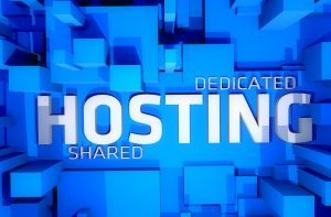 Dedicated Hosting - Shared Hosting 3D Render Illustration. Cool Blue 3D Blocks and Large Word Hosting Between. Perfect Illustration for Hosting Companies.